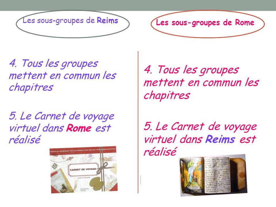 Les sous-groupes de Reims 4. Tous les groupes mettent en commun les chapitres 5. Le Carnet de voyage virtuel dans Rome est réalisé Les sous-groupes de