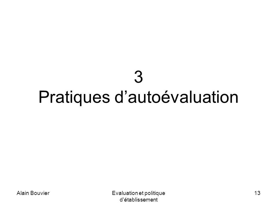 Alain BouvierEvaluation et politique d établissement 13 3 Pratiques dautoévaluation
