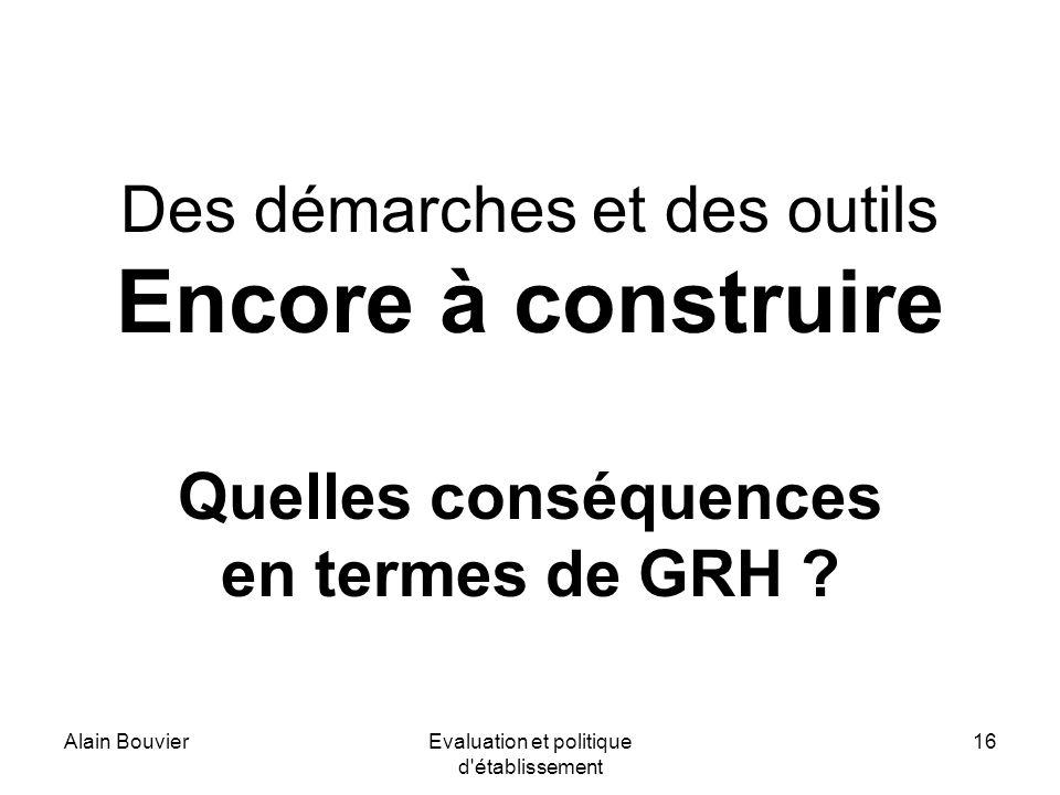 Alain BouvierEvaluation et politique d établissement 16 Des démarches et des outils Encore à construire Quelles conséquences en termes de GRH ?