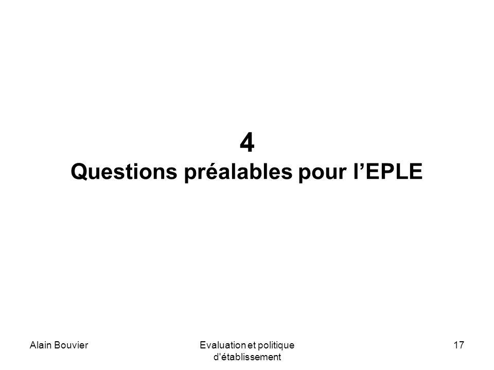 Alain BouvierEvaluation et politique d établissement 17 4 Questions préalables pour lEPLE