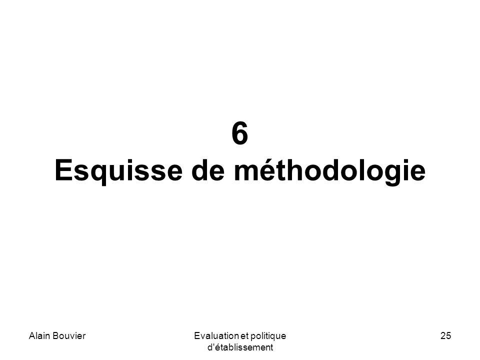 Alain BouvierEvaluation et politique d établissement 25 6 Esquisse de méthodologie