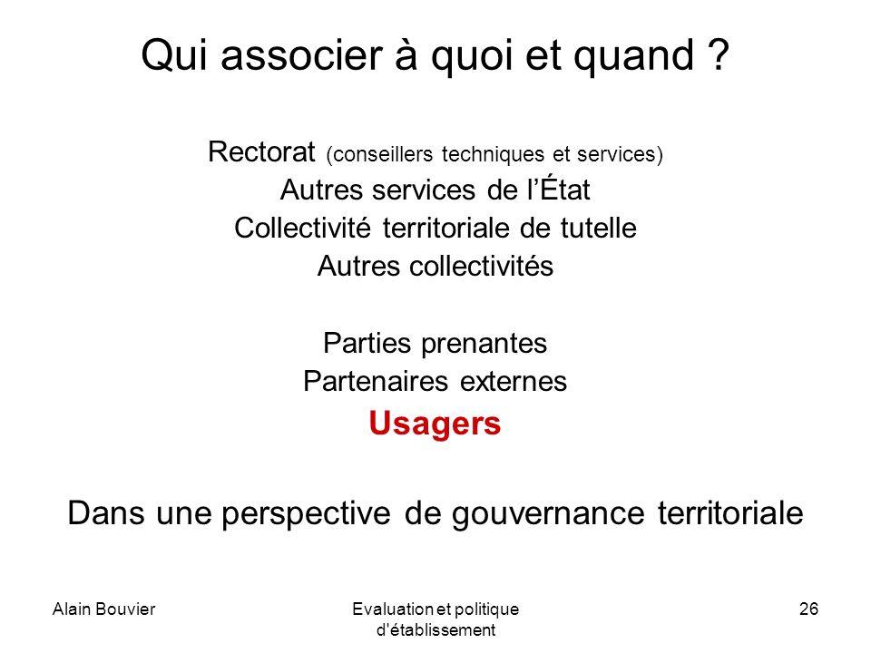 Alain BouvierEvaluation et politique d établissement 26 Qui associer à quoi et quand .
