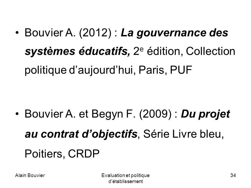 Alain BouvierEvaluation et politique d établissement 34 Bouvier A.