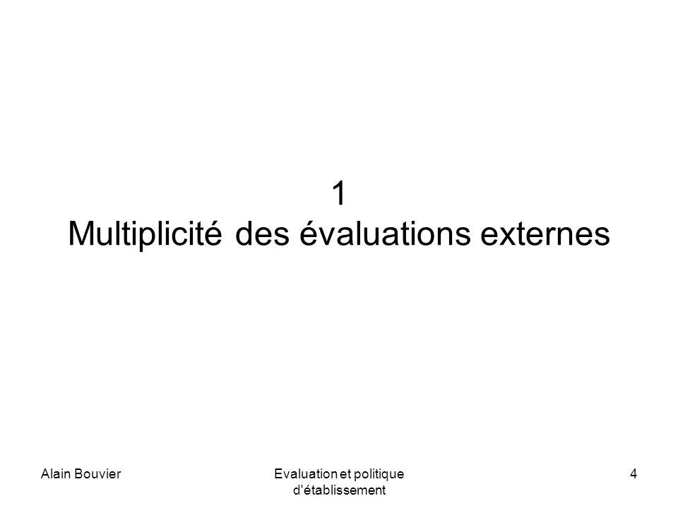 Alain BouvierEvaluation et politique d établissement 4 1 Multiplicité des évaluations externes