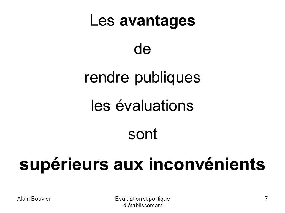 Alain BouvierEvaluation et politique d établissement 7 Les avantages de rendre publiques les évaluations sont supérieurs aux inconvénients