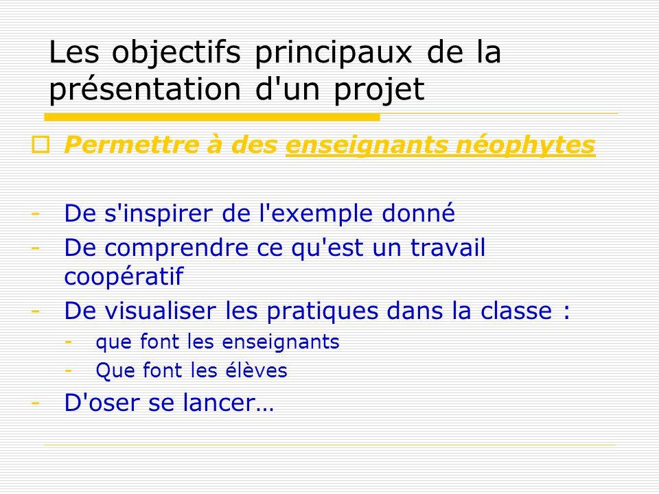 Les objectifs principaux de la présentation d'un projet Permettre à des enseignants néophytes -De s'inspirer de l'exemple donné -De comprendre ce qu'e