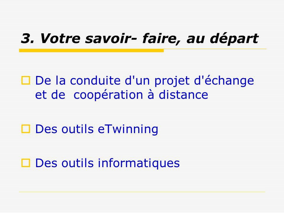 3. Votre savoir- faire, au départ De la conduite d'un projet d'échange et de coopération à distance Des outils eTwinning Des outils informatiques