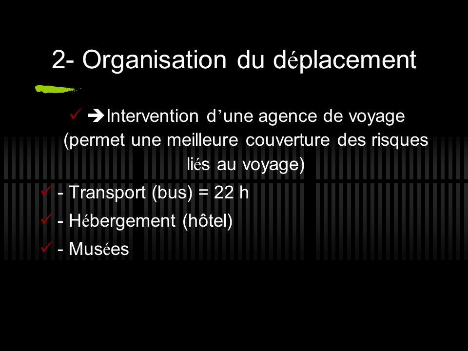 2- Organisation du d é placement Intervention d une agence de voyage (permet une meilleure couverture des risques li é s au voyage) - Transport (bus) = 22 h - H é bergement (hôtel) - Mus é es