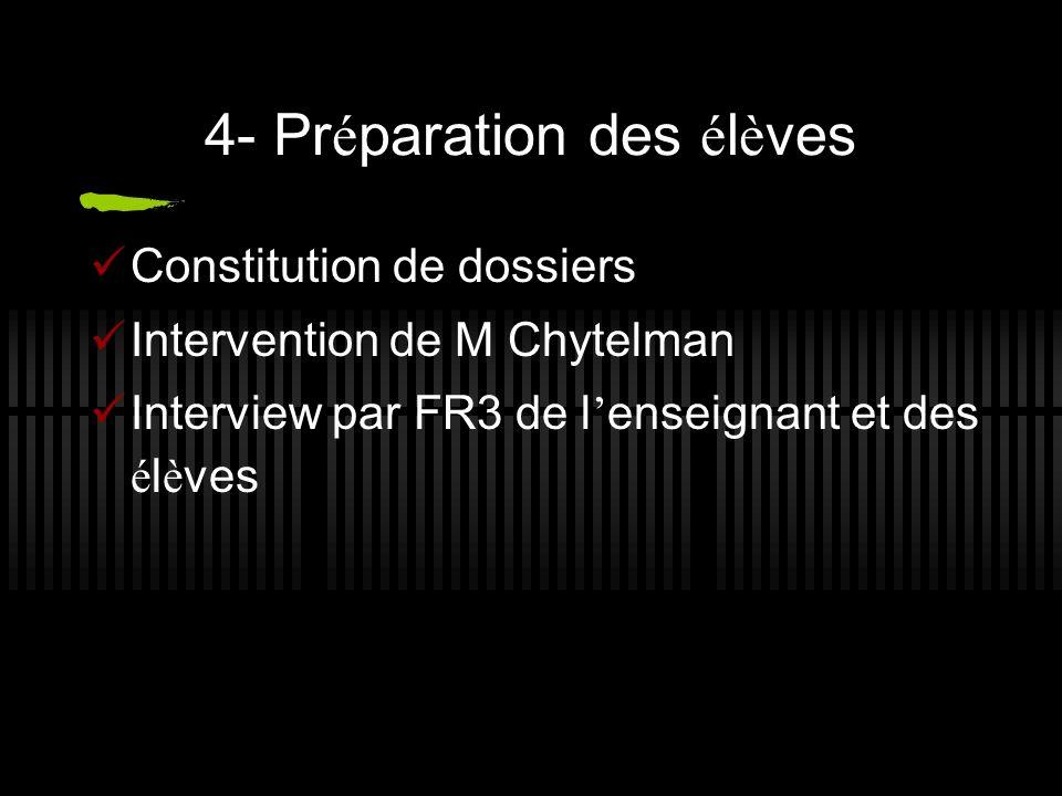 4- Pr é paration des é l è ves Constitution de dossiers Intervention de M Chytelman Interview par FR3 de l enseignant et des é l è ves