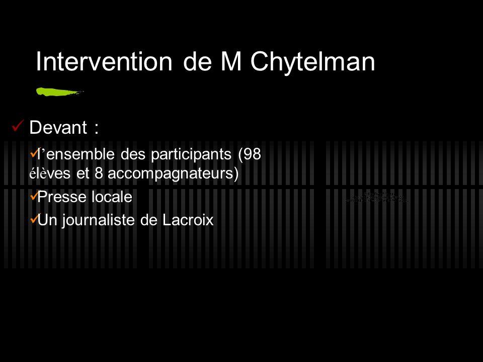 Intervention de M Chytelman Devant : l ensemble des participants (98 é l è ves et 8 accompagnateurs) Presse locale Un journaliste de Lacroix