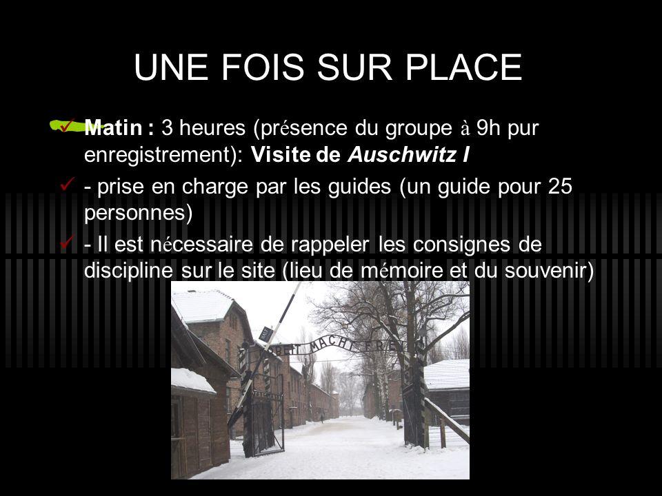 UNE FOIS SUR PLACE Matin : 3 heures (pr é sence du groupe à 9h pur enregistrement): Visite de Auschwitz I - prise en charge par les guides (un guide pour 25 personnes) - Il est n é cessaire de rappeler les consignes de discipline sur le site (lieu de m é moire et du souvenir)