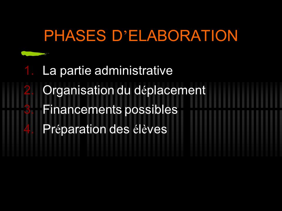 PHASES D ELABORATION 1.La partie administrative 2.Organisation du d é placement 3.Financements possibles 4.Pr é paration des é l è ves