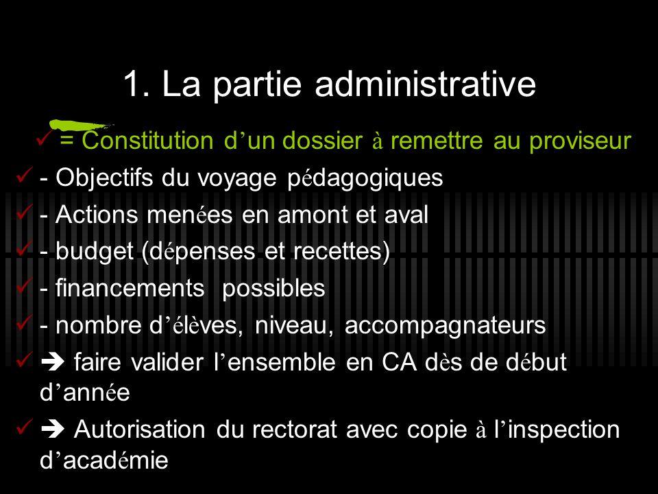 1. La partie administrative = Constitution d un dossier à remettre au proviseur - Objectifs du voyage p é dagogiques - Actions men é es en amont et av