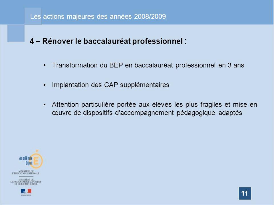 11 Les actions majeures des années 2008/2009 4 – Rénover le baccalauréat professionnel : Transformation du BEP en baccalauréat professionnel en 3 ans