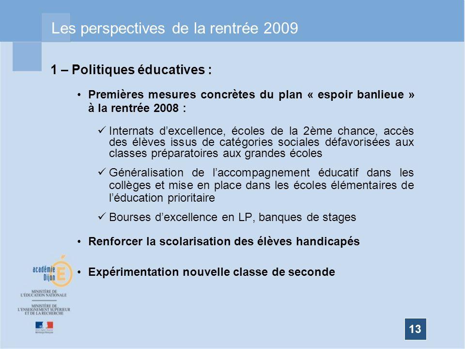 13 Les perspectives de la rentrée 2009 1 – Politiques éducatives : Premières mesures concrètes du plan « espoir banlieue » à la rentrée 2008 : Interna