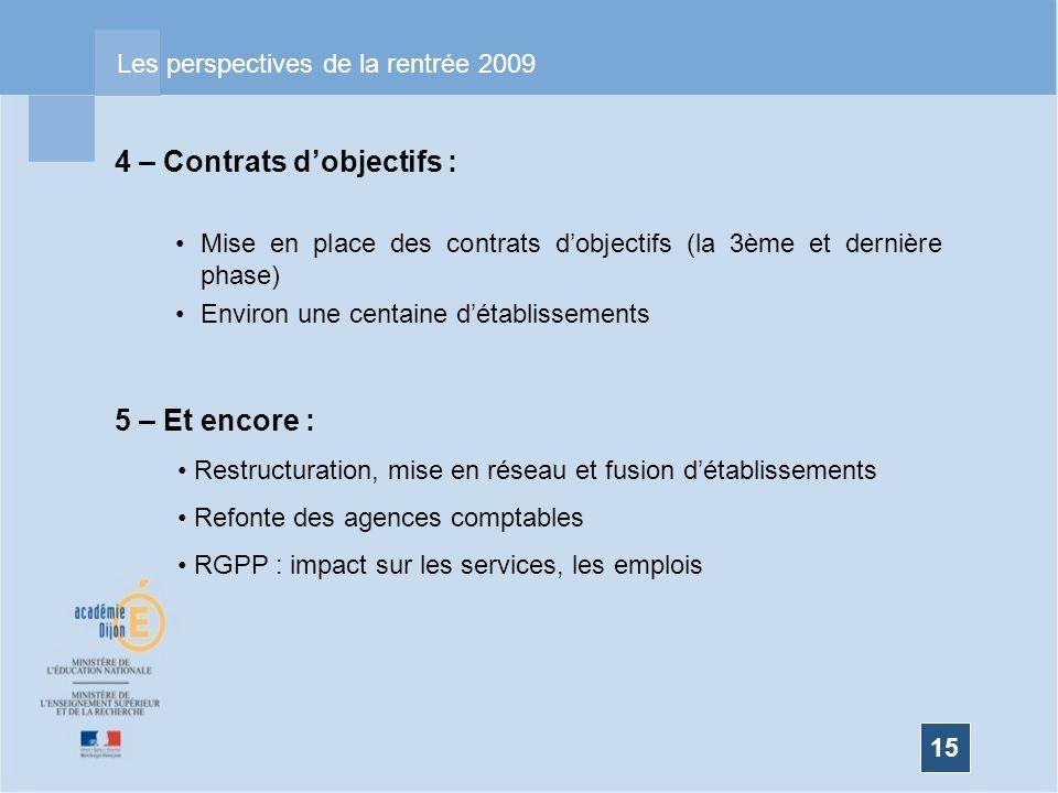 15 Les perspectives de la rentrée 2009 4 – Contrats dobjectifs : Mise en place des contrats dobjectifs (la 3ème et dernière phase) Environ une centain