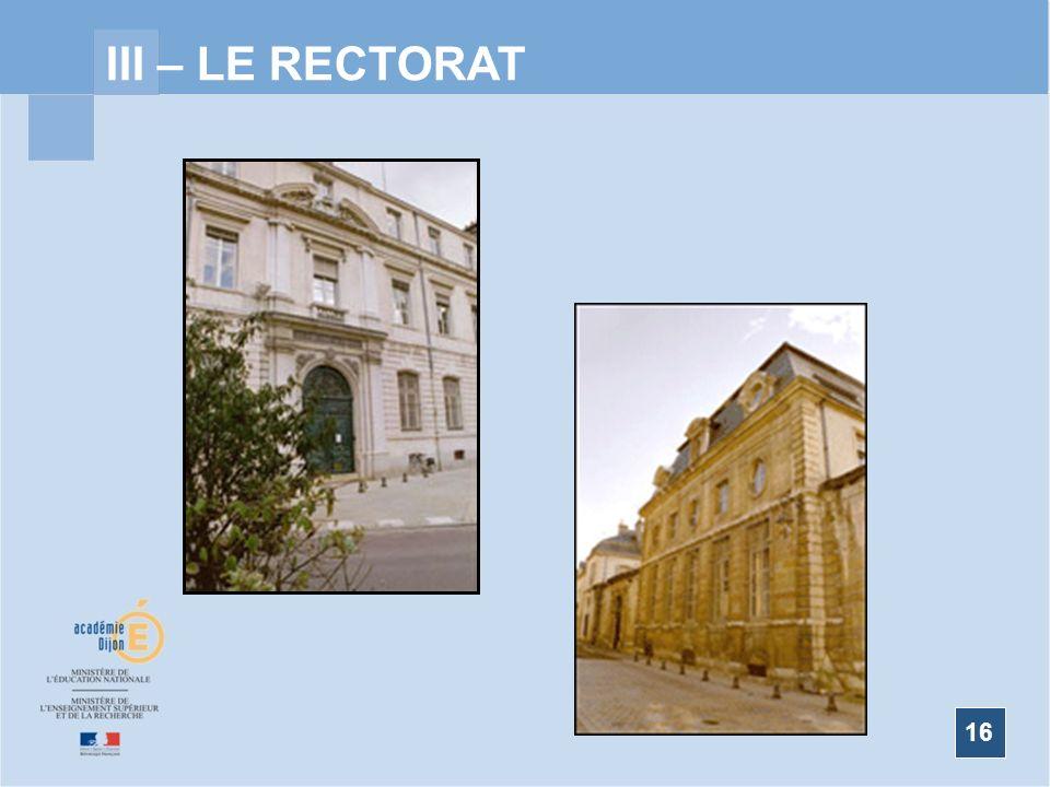 16 III – LE RECTORAT Organigramme 2008/2009 RECTORAT DE DIJON 2009 | MENTIONS LEGALES | INTRANET | OFFRE D HEBERGEMENT MENTIONS LEGALESINTRANETOFFRE D HEBERGEMENT