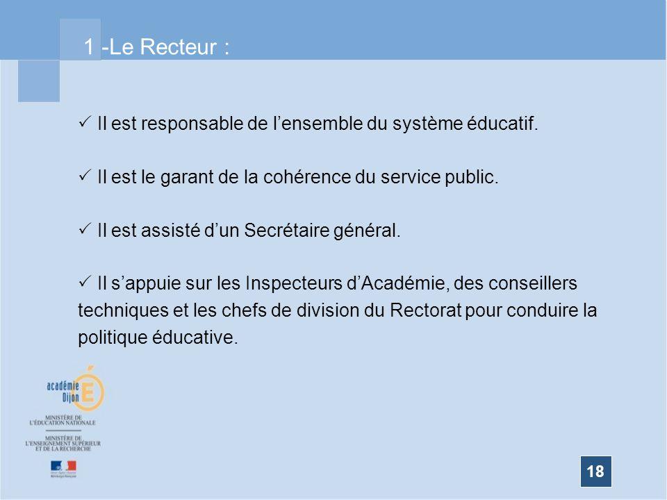 18 Il est responsable de lensemble du système éducatif. Il est le garant de la cohérence du service public. Il est assisté dun Secrétaire général. Il