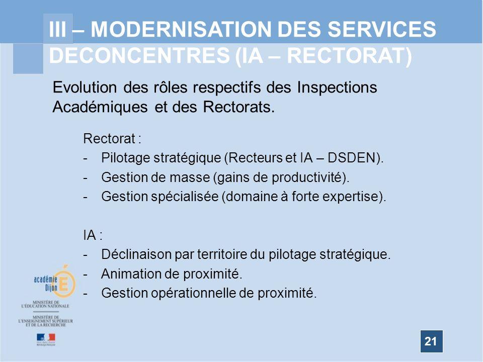 21 III – MODERNISATION DES SERVICES DECONCENTRES (IA – RECTORAT) Evolution des rôles respectifs des Inspections Académiques et des Rectorats.