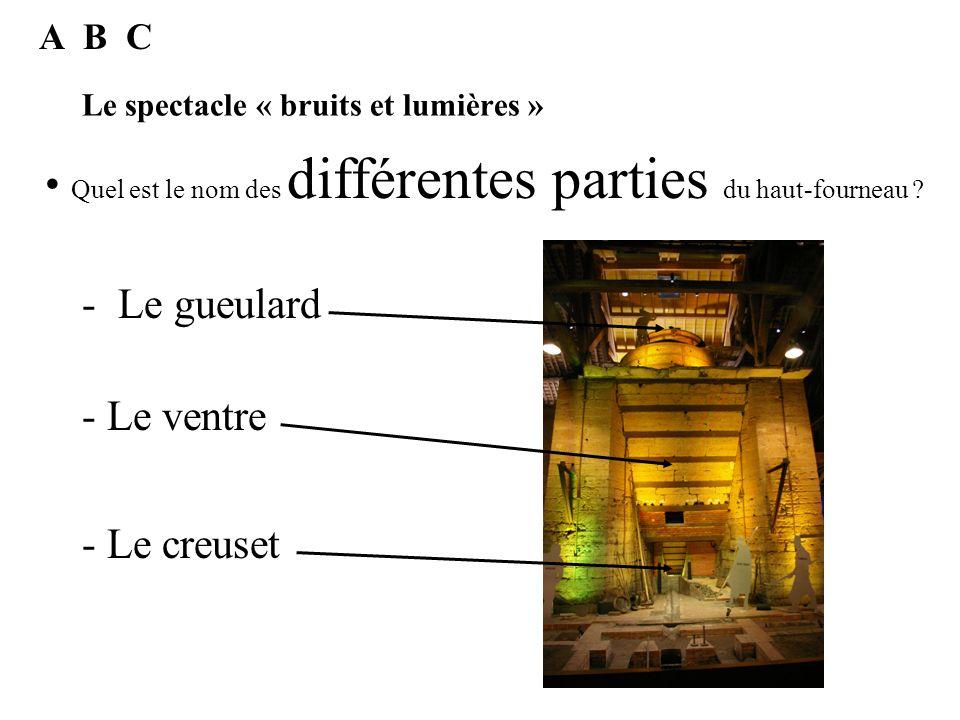 Le spectacle « bruits et lumières » Ce haut fourneau a été construit en 1834 par Jean Baptiste Le Bachellé. C A quelle date a été créé le haut fournea