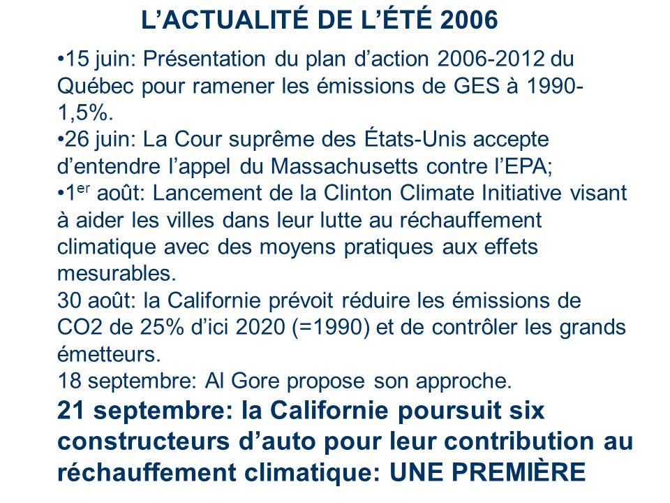 LACTUALITÉ DE LÉTÉ 2006 15 juin: Présentation du plan daction 2006-2012 du Québec pour ramener les émissions de GES à 1990- 1,5%. 26 juin: La Cour sup
