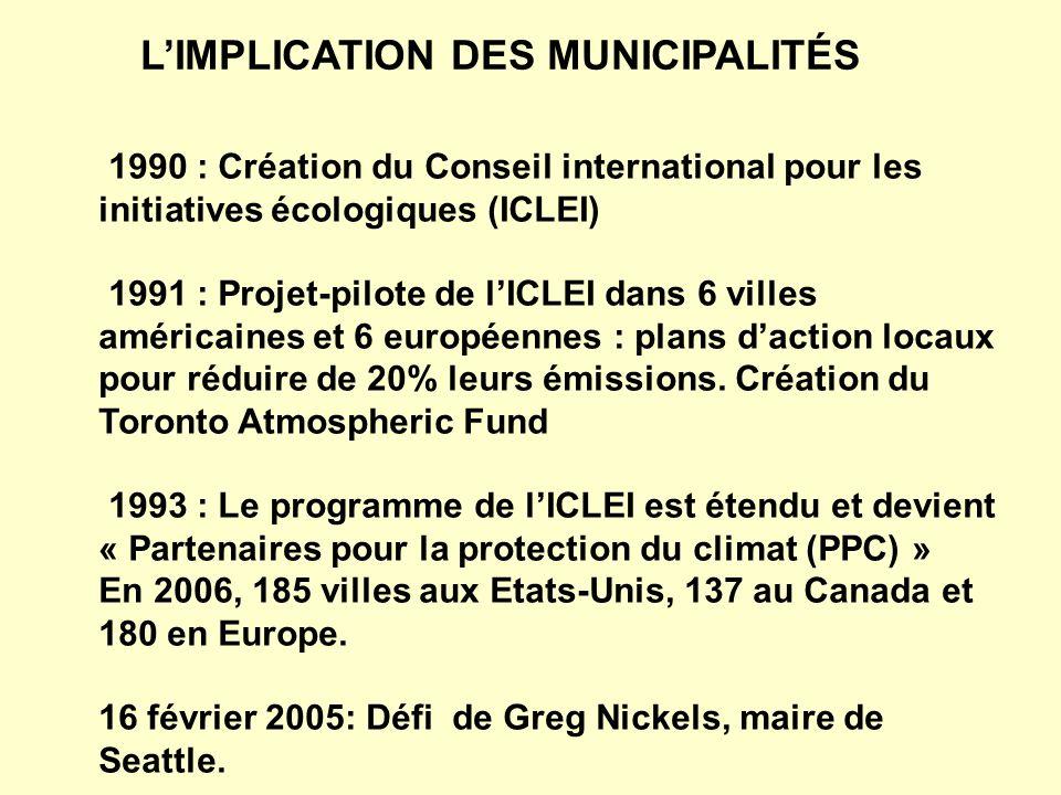 1990 : Création du Conseil international pour les initiatives écologiques (ICLEI) 1991 : Projet-pilote de lICLEI dans 6 villes américaines et 6 europé