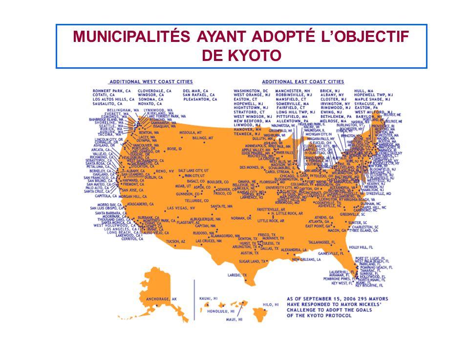 MUNICIPALITÉS AYANT ADOPTÉ LOBJECTIF DE KYOTO