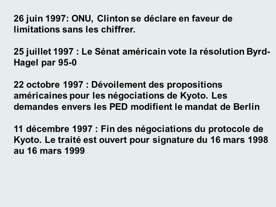26 juin 1997: ONU, Clinton se déclare en faveur de limitations sans les chiffrer. 25 juillet 1997 : Le Sénat américain vote la résolution Byrd- Hagel