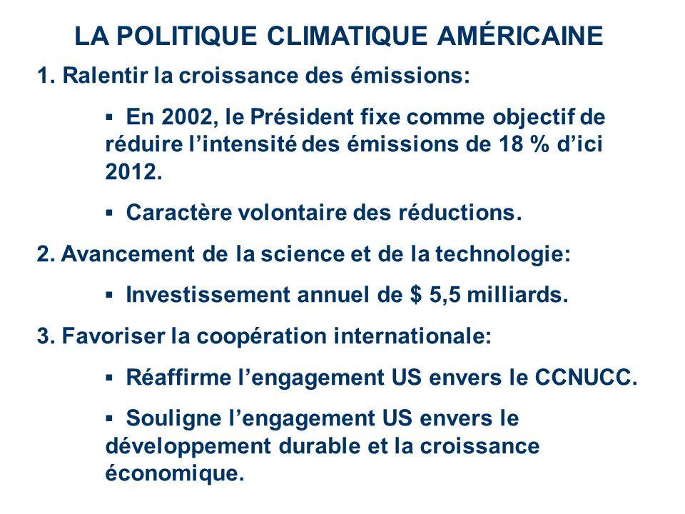 LA POLITIQUE CLIMATIQUE AMÉRICAINE 1.Ralentir la croissance des émissions: En 2002, le Président fixe comme objectif de réduire lintensité des émissio