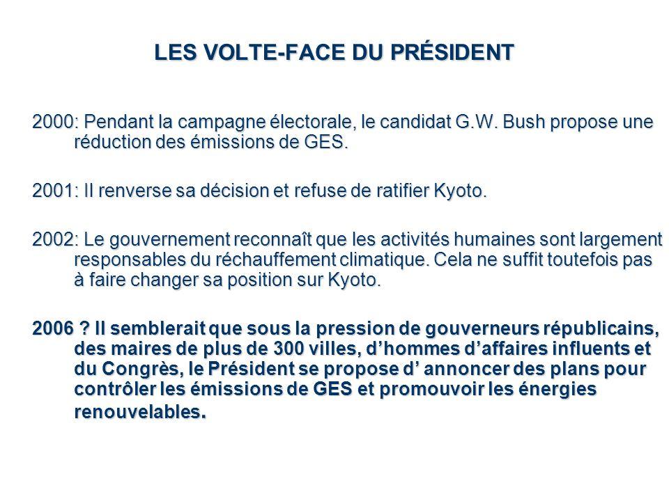 LES VOLTE-FACE DU PRÉSIDENT 2000: Pendant la campagne électorale, le candidat G.W. Bush propose une réduction des émissions de GES. 2001: Il renverse