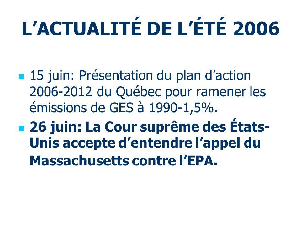 LACTUALITÉ DE LÉTÉ 2006 15 juin: Présentation du plan daction 2006-2012 du Québec pour ramener les émissions de GES à 1990-1,5%. 26 juin: La Cour supr