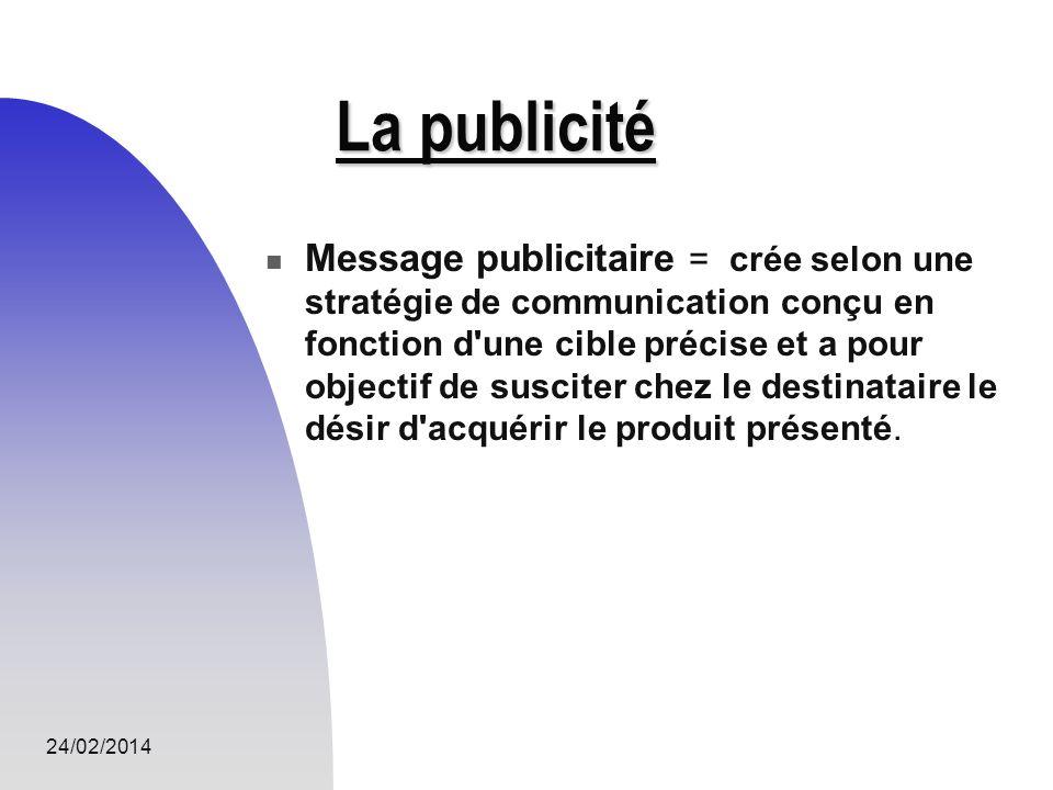 24/02/2014 La publicité Message publicitaire = crée selon une stratégie de communication conçu en fonction d'une cible précise et a pour objectif de s