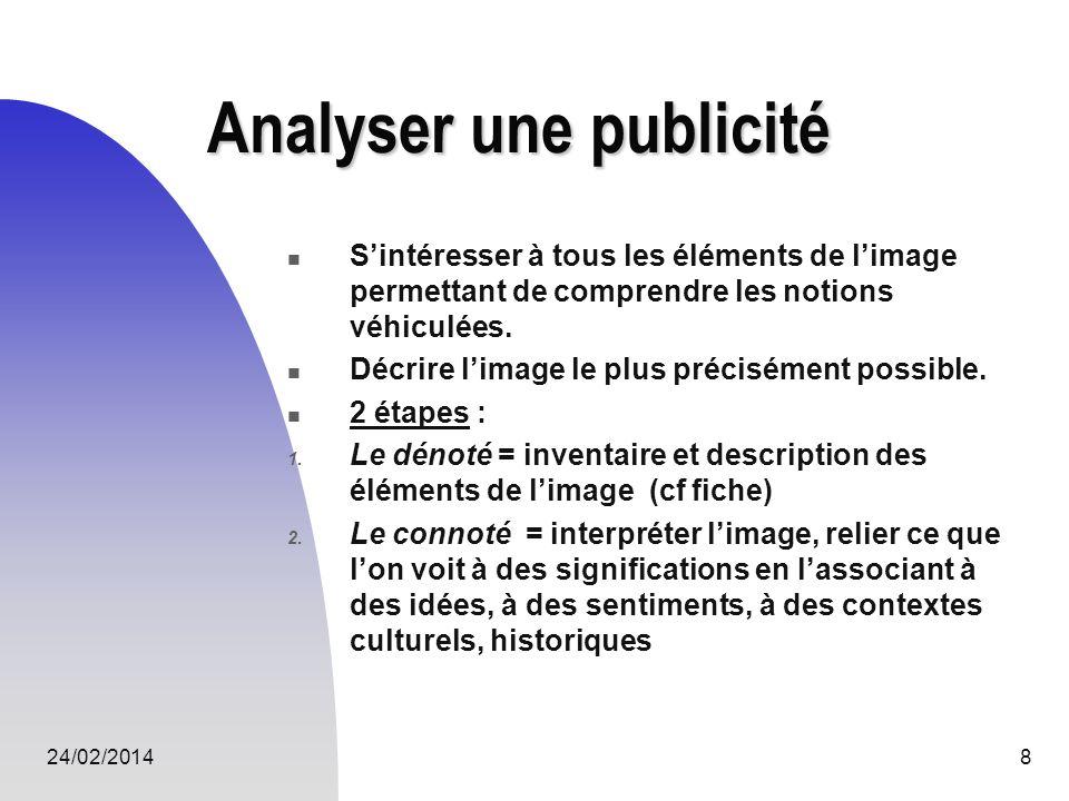 24/02/20148 Analyser une publicité Sintéresser à tous les éléments de limage permettant de comprendre les notions véhiculées. Décrire limage le plus p