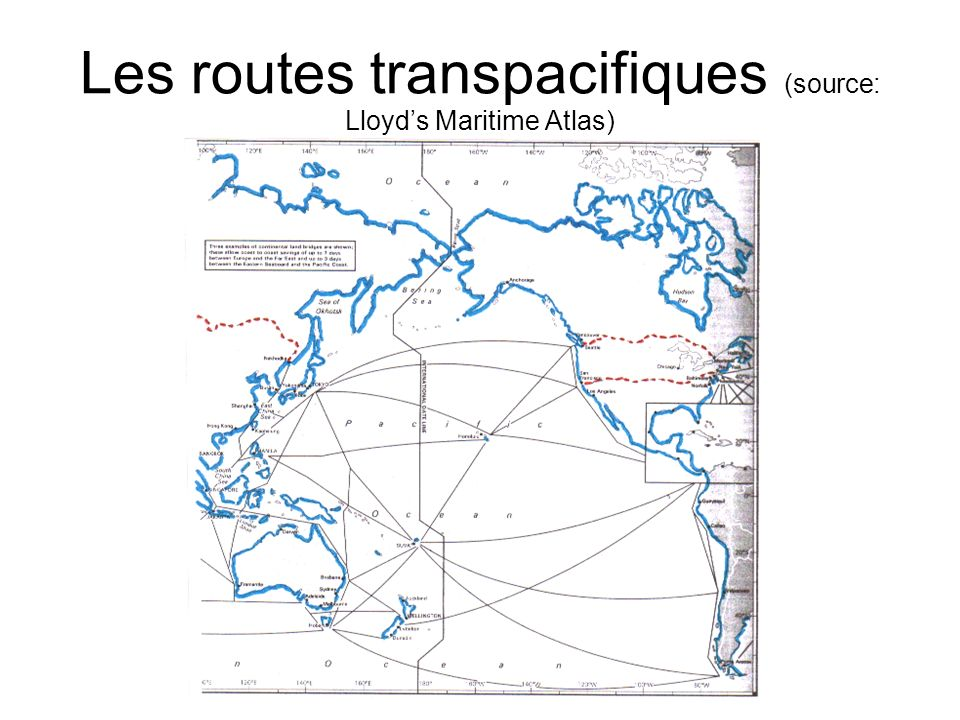 Les routes transpacifiques (source: Lloyds Maritime Atlas)