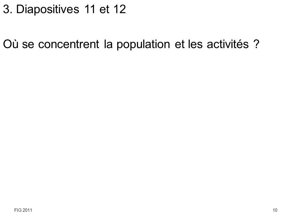 3. Diapositives 11 et 12 Où se concentrent la population et les activités ? FIG 201110