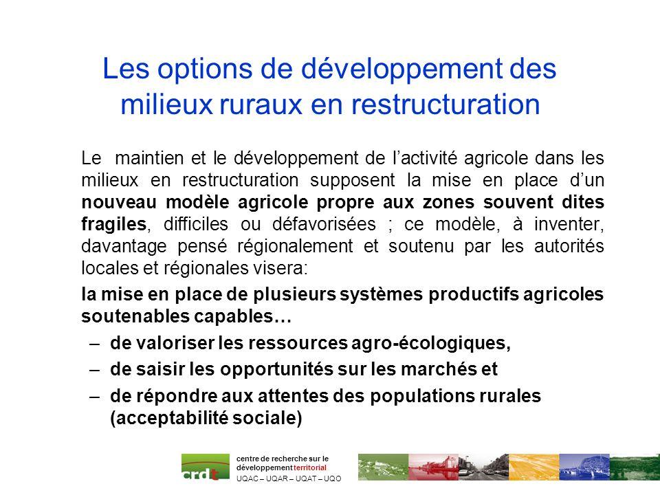 Les options de développement des milieux ruraux en restructuration Le maintien et le développement de lactivité agricole dans les milieux en restructu