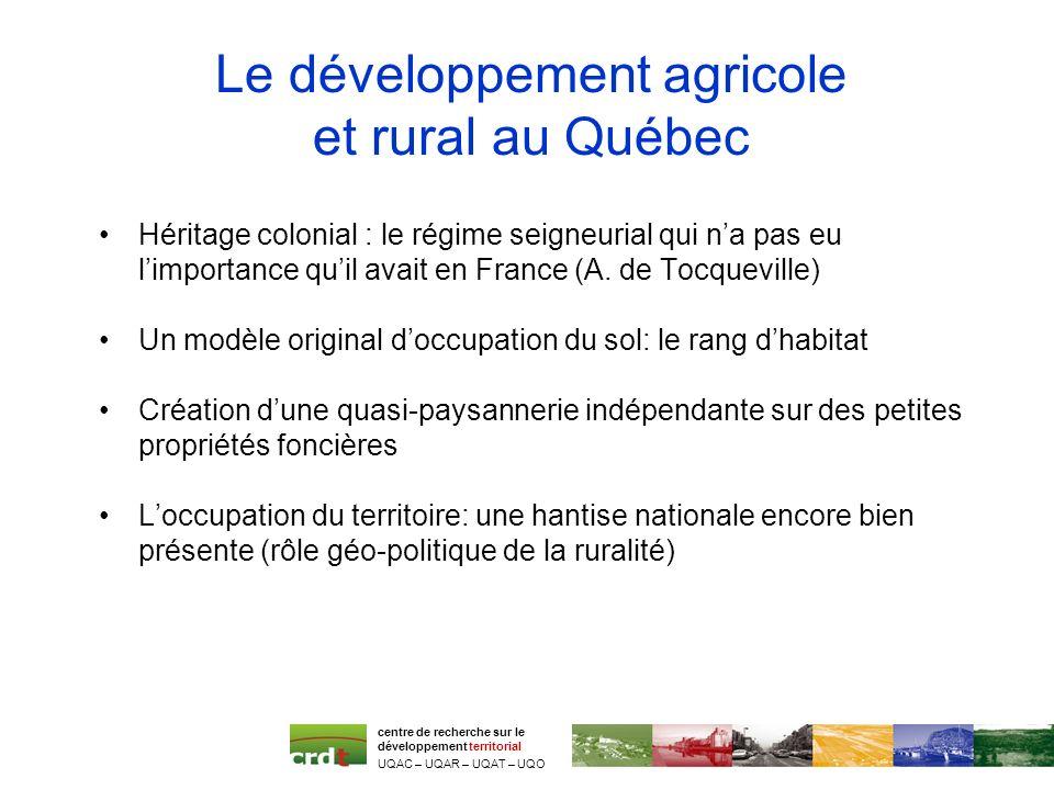 Le développement agricole et rural au Québec Héritage colonial : le régime seigneurial qui na pas eu limportance quil avait en France (A. de Tocquevil