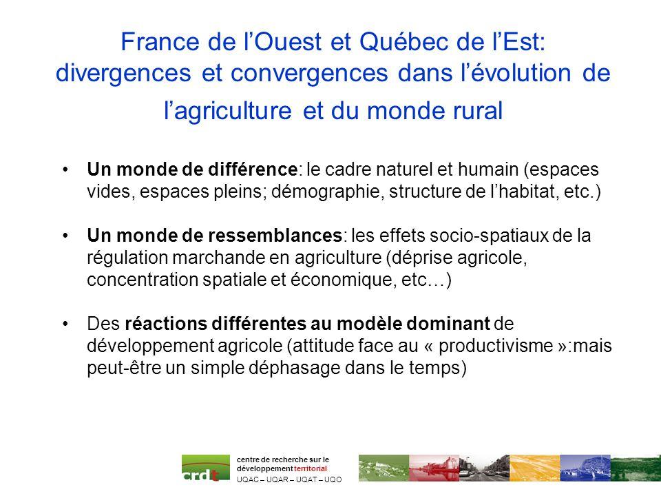 France de lOuest et Québec de lEst: divergences et convergences dans lévolution de lagriculture et du monde rural Un monde de différence: le cadre nat