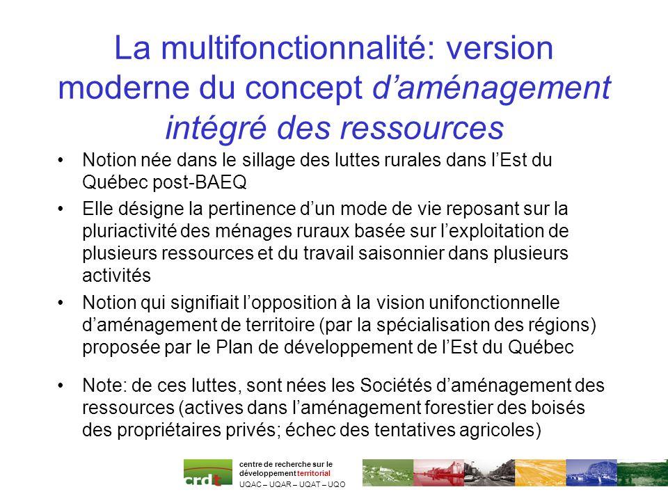 La multifonctionnalité: version moderne du concept daménagement intégré des ressources Notion née dans le sillage des luttes rurales dans lEst du Québ