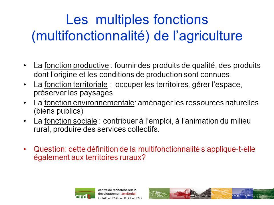 Les multiples fonctions (multifonctionnalité) de lagriculture La fonction productive : fournir des produits de qualité, des produits dont lorigine et
