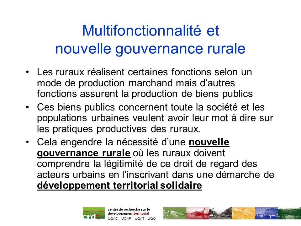 Multifonctionnalité et nouvelle gouvernance rurale Les ruraux réalisent certaines fonctions selon un mode de production marchand mais dautres fonction