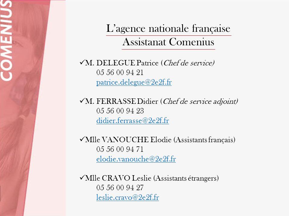 Lagence nationale française Assistanat Comenius M. DELEGUE Patrice (Chef de service) 05 56 00 94 21 patrice.delegue@2e2f.fr M. FERRASSE Didier (Chef d