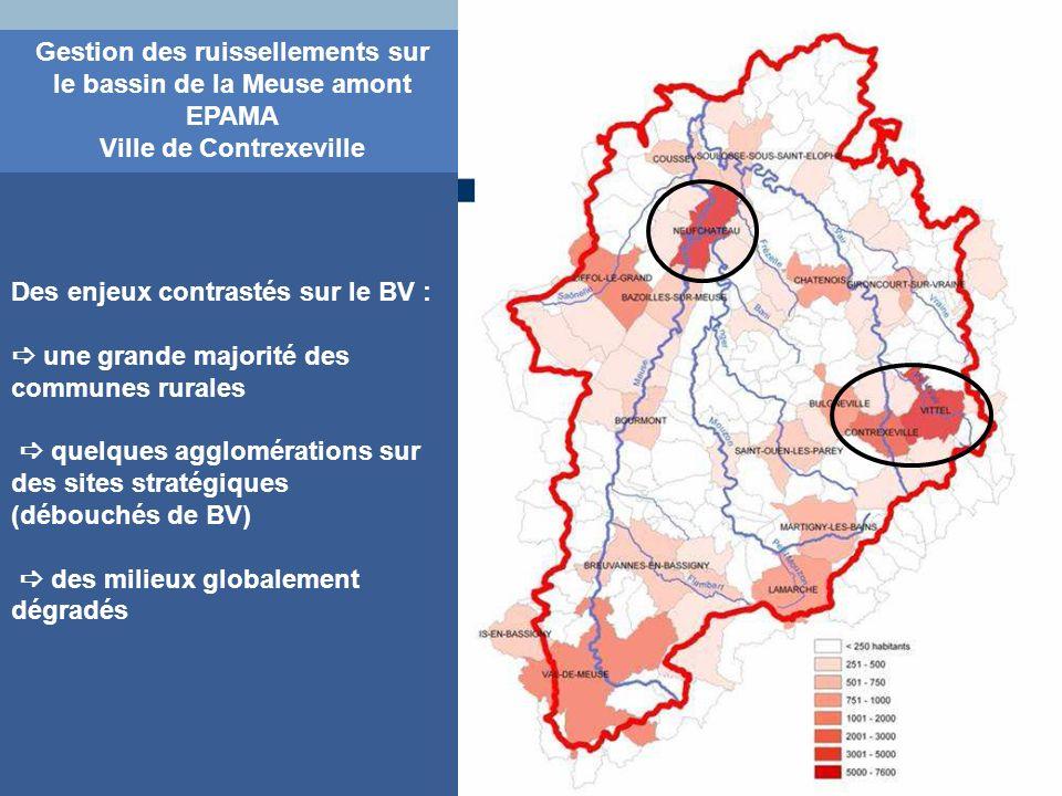 Gestion des ruissellements sur le bassin de la Meuse amont EPAMA Ville de Contrexeville Des enjeux contrastés sur le BV : une grande majorité des comm