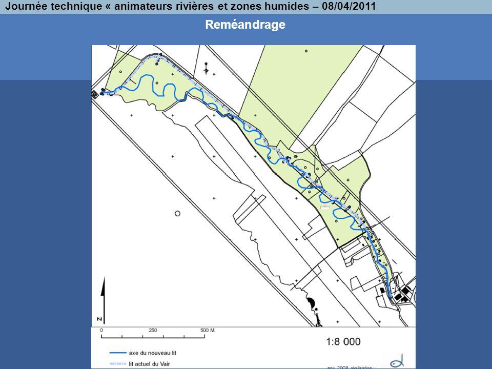 Reméandrage Journée technique « animateurs rivières et zones humides – 08/04/2011