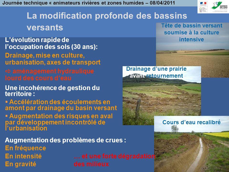 La modification profonde des bassins versants Lévolution rapide de loccupation des sols (30 ans): Drainage, mise en culture, urbanisation, axes de tra