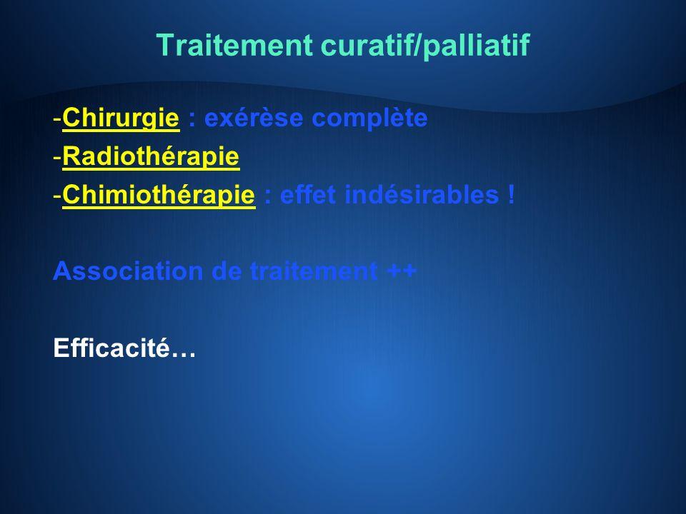 Traitement curatif/palliatif -Chirurgie : exérèse complète -Radiothérapie -Chimiothérapie : effet indésirables ! Association de traitement ++ Efficaci