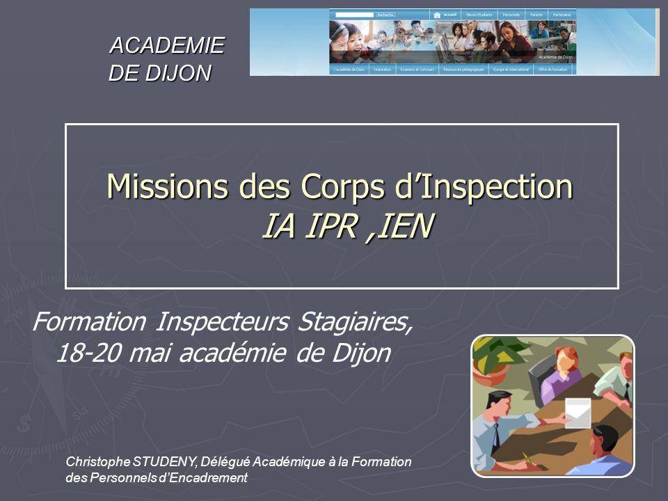 Formation Inspecteurs Stagiaires, 18-20 mai académie de Dijon Christophe STUDENY, Délégué Académique à la Formation des Personnels dEncadrement ACADEM
