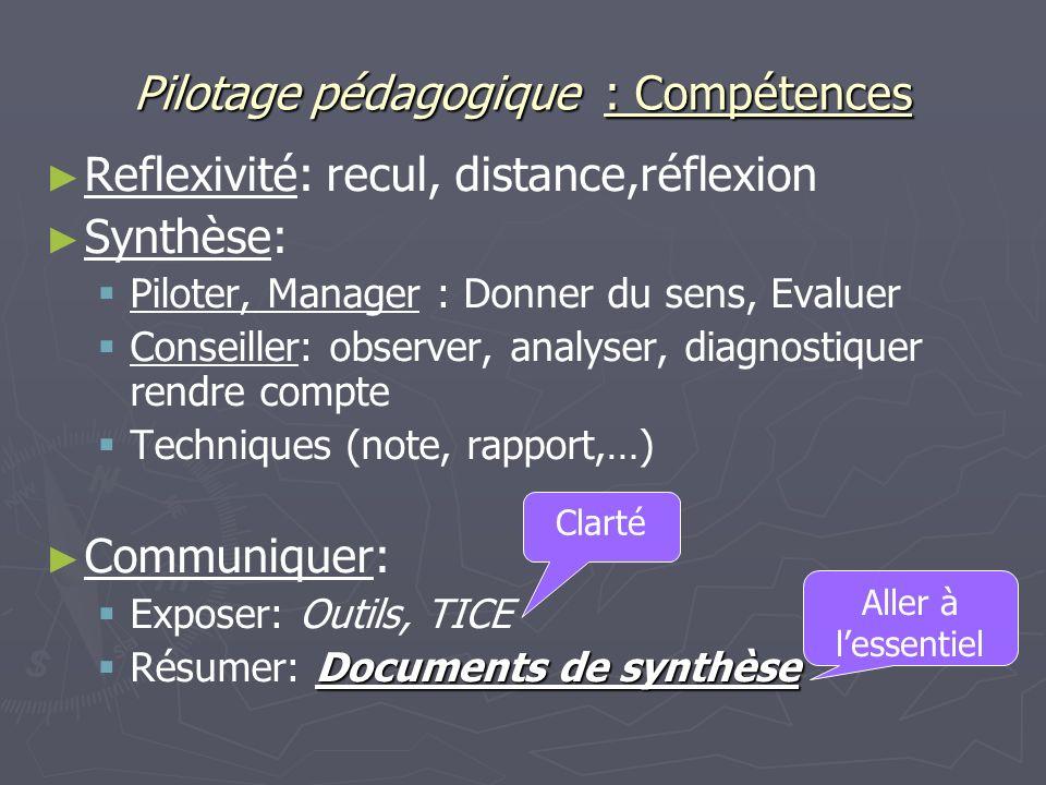 Pilotage pédagogique : Compétences Reflexivité: recul, distance,réflexion Synthèse: Piloter, Manager : Donner du sens, Evaluer Conseiller: observer, a