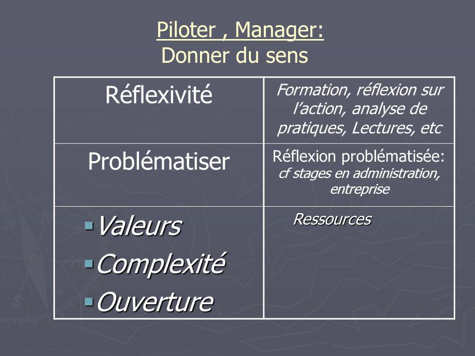 Piloter, Manager: Donner du sens Réflexivité Formation, réflexion sur laction, analyse de pratiques, Lectures, etc Problématiser Réflexion problématis