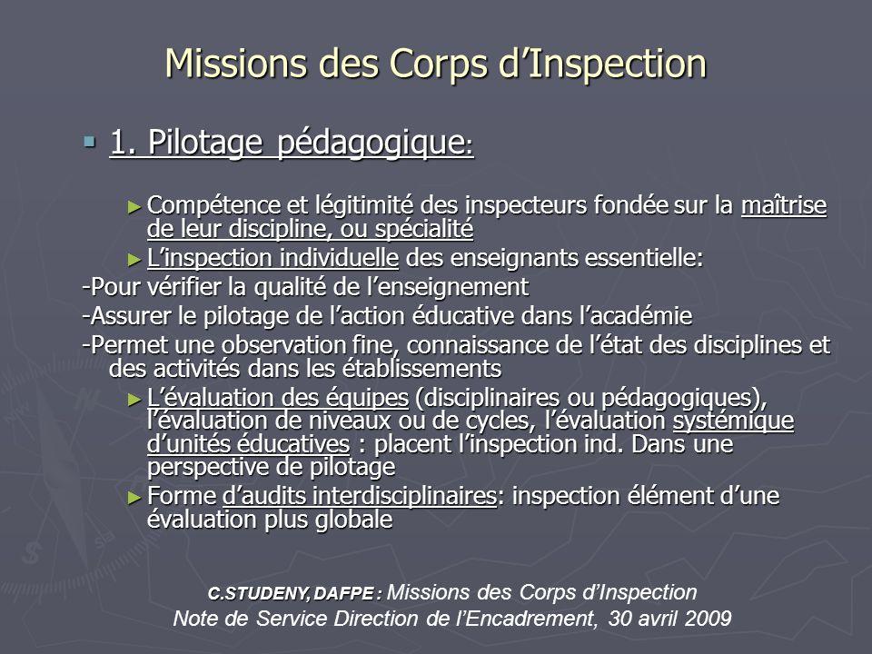 Missions des Corps dInspection 1. Pilotage pédagogique : 1. Pilotage pédagogique : Compétence et légitimité des inspecteurs fondée sur la maîtrise de